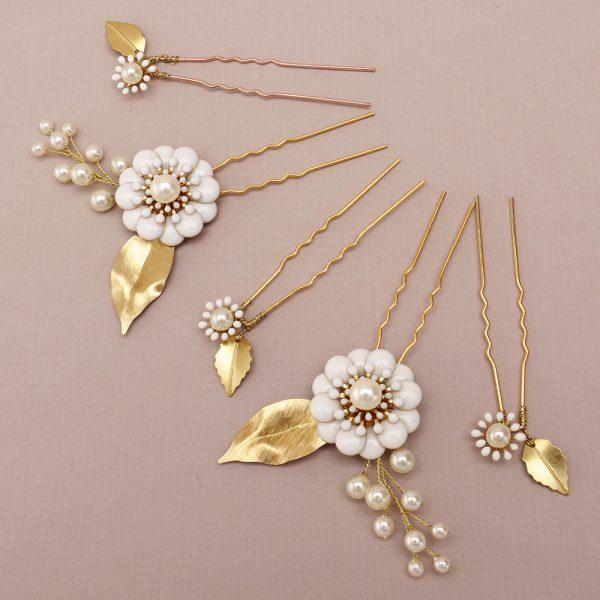 Hydrangea Bridal Hair Pins, Set of 5