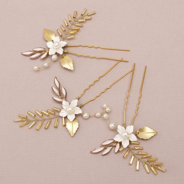 Oleander Bridal Hair Pins, Set of 3
