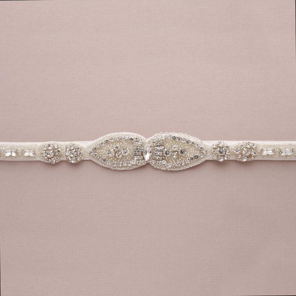 Peony Bridal Belt with Ribbon Ties